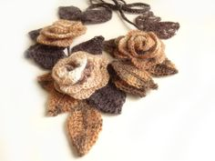 "Crochet freeform 3D flowers and leaves scarf necklace creme white mocha chocolate brown ""Mocha"". $42,00, via Etsy."