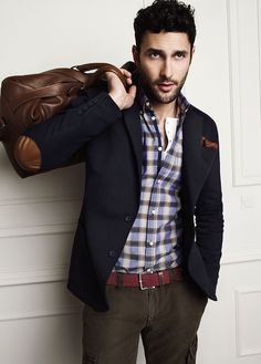 Checkered shirt with blazer and brown slacks #menswear