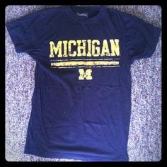 I just discovered this while shopping on Poshmark: Blue and yellow Michigan shirt. Check it out!  Size: S