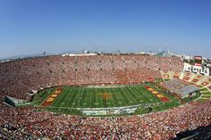 USC's ties to Los Angeles Memorial Coliseum date back to the stadium's beginnings. USC has been the stadium's primary football tenant ever since. The Coliseum has hosted two Olympiads and and was declared a state and national historic landmark in University Of Southern California, California Love, Football Stadiums, College Football, Pomona College, Usc Trojans, City Of Angels, Home Team, Places