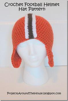 Football Helmet Crochet Pattern Free   Projects Around the House: Crochet Football Helmet Hat Pattern