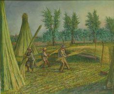G.Pancaldi - Vita contadina, raccolto della canapa (4) metà '900 olio su tela 85x105