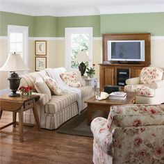 Colorful Flowers Sofa in Modern Living Room Interior Decorating Designs Ideas