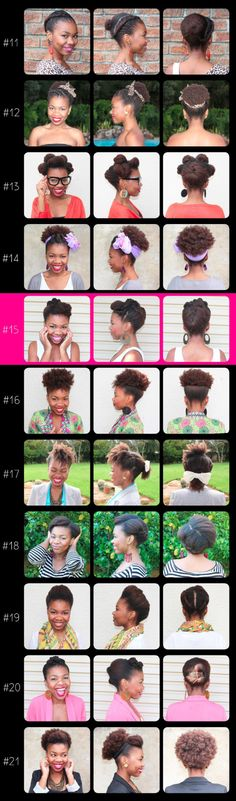 30 Protective Styles for Natural Hair Part 2  Check out MyFroandITV for video tutorials.  Source: myfroandi.com