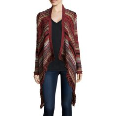 Arizona Long-Sleeve Patterned Fringe Cardigan - Juniors ($20) ❤ liked on Polyvore featuring tops, cardigans, long sleeve cardigan, fringe top, long sleeve open front cardigan, long sleeve fringe top and open front cardigan