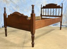 Antique Walnut Spool Twin Bed Jenny Lind Style with Rails 1800's  | eBay