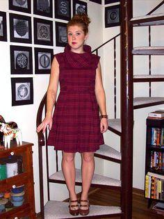 Target burgundy plaid cowl neck dress, brown watch, brown heels