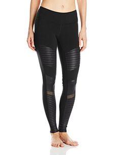 d12ed79d3cfdb3 Alo Yoga Women's Moto Legging, Black/Black Glossy, X-Small Alo Yoga