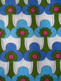 Vintage 60s 70s Mod Fabric Trees Blues Green Red