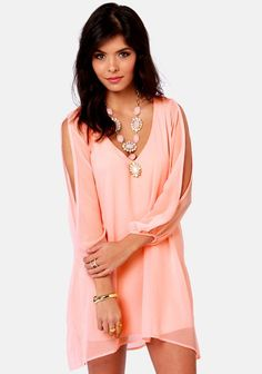 Super Cute and Sexy! Love the Coral Pink Color and the Design! Pink Plain Hollow-out Split Sleeve Chiffon Dress #Sexy #Super_Cute #Split_Sleeve #Love_Pink #Coral #Fashion