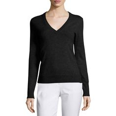 Michael Kors Collection V-Neck Slash-Back Cashmere Sweater ($895) ❤ liked on Polyvore featuring tops, sweaters, black, slim fit sweater, pullover sweater, michael kors sweaters, long sleeve v neck sweater and lightweight sweaters