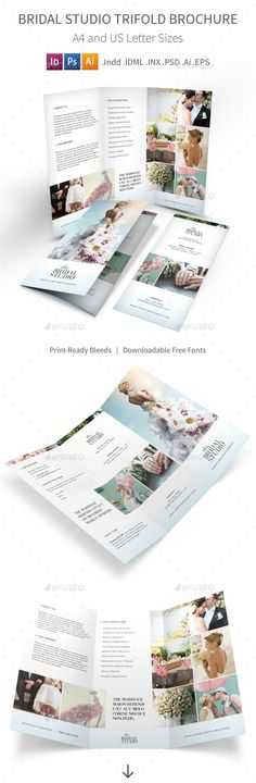 Beautiful PSD Bridal Studio Trifold Brochure Template • Only available here ➝ http://graphicriver.net/item/bridal-studio-trifold-brochure/12213974?ref=pxcr