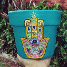 Decorated Flower Pots, Painted Flower Pots, Painted Pots, Hand Painted, Plant Painting, Hamsa Hand, Painting Lessons, Pottery Painting, Terracotta Pots