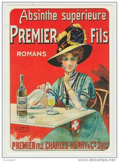 *a* Publicité - ABSINTHE PREMIER FILS par Van Den Thurm - Romans, Isère - L'Avion Postal, A3 - CPM 10,5 x 15 cm