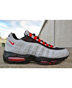 online store 1b684 ad0a7 Nike Air Max 95 Classic Grey Black Red Trainers Air Max 95 Grey, Cheap Air