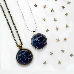- DESCRIPTION - THE DETAILS - SHIPPING - A high-contrast midnight blue background makes the white star map pop. This pendant can be worn on a chain or select a keyring. Select silver-plated or antique