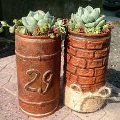 Ceramic Planters, Planter Pots, Garden Art, Garden Design, Tin Can Crafts, Recycled Crafts, Planting Succulents, Clay Art, Container Gardening