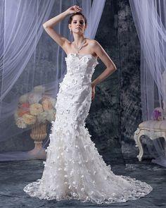 simple wedding dresses,wedding dresses vintage, Hand-Made Flower