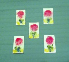 Five little paintings of pink flowers.   Oil on card .  Philip Weaver