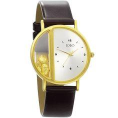 JOBO JOBO Unisex-Armbanduhr Quarz Analog vergoldet Lederband Mineralglas