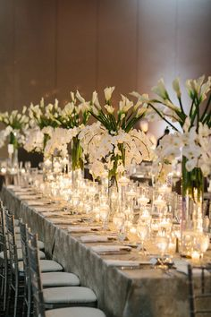 Stand out with large arrangements of white lilies and orchids surrounded by twinkling candles. Tall Centerpiece, Centerpiece Ideas, Centerpieces, Wedding Shit, Wedding Wishes, All White Wedding, Grand Hyatt, White Lilies, Wedding Table Settings