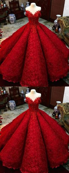 Simple Prom Dress, Ball Gown Red Prom Dress With Beads Off the Shoulder Floor-Length Lace Quinceanera Dress Sweet 16 Dresses for Girls Saloni Dresses Red Ball Gowns, Ball Gowns Prom, Ball Gown Dresses, Red Gowns, Xv Dresses, Red Gown Prom, Evening Dresses, Dresses For Balls, Long Dresses