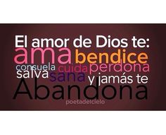 El amor de Dios... Christian Messages, Christian Quotes, Bible Verses Quotes, Faith Quotes, Healing Words, Faith In Love, God Loves You, Gods Promises, Spanish Quotes