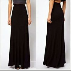 COMING SOON! BLACK HIGH WAISTED MAXI SKIRT Black stretchy maxi skirt with an empire waistline. Material is cotton. Skirts Maxi
