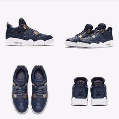 """UPCOMING: Nike Air Jordan 4 Premium """"Obsidian"""". Men's sizes only. click link in profile to shop."""