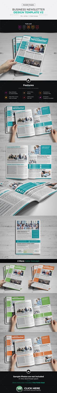 #Newsletter Design Template v2 - Newsletters Print #Templates Download here: https://graphicriver.net/item/newsletter-design-template-v2/6674095?ref=alena994