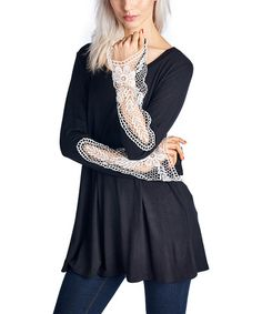 Another great find on #zulily! Black Lace-Accent Scoop Neck Tunic #zulilyfinds