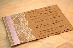 Vintage Baby Shower Invitation -  Girl Vintage Style - Birthday party invitations - Pink Lace - Simple - Flat invitation