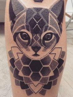 Dotwork cat + mandala, Lauren Marie Sutton at Redwood Tattoo Studio, Manchester, UK