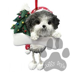 Dangling Leg Shih Tzu Black and White Puppy Dog Christmas Ornament http://doggystylegifts.com/products/dangling-leg-shih-tzu-black-and-white-puppy-dog-christmas-ornament