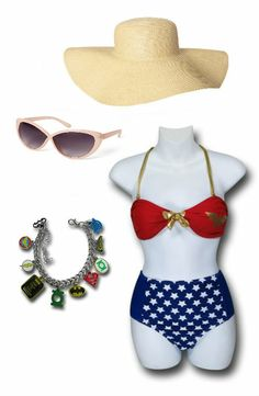 "FOR THE BEACH: ""Wonder Woman"" Outfit by Mary Huth. DC Comics Hero Charm: http://www.superherostuff.com/dc-heroes-and-justice-league/bracelets/dc-comics-hero-charm-bracelet.html?itemcd=brcltjlacnv Old Navy Sun Hat: http://oldnavy.gap.com/browse/product.do?pid=939642002 Forever 21 Suglasses: http://www.forever21.com/product/product.aspx?br=F21&category=acc_glasses&productid=1000105702"