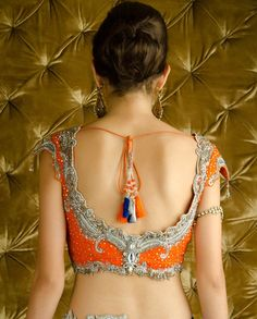 Sequined Orange and Ultramarine Lengha Choli with Dupatta