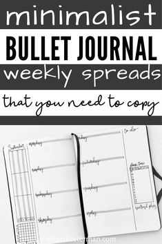 Minimalist Bullet Journal Weekly Spreads - I am so excited to bring you these minimalist inspired weekly bullet journal spreads! I took some time drawing these up and then took even longer trying to figure out how to photograph them. The blogging learning curve is STEEP (and so is the bullet journal learning curve for that matter). Bullet Journal Prompts, Bullet Journal Monthly Spread, Bullet Journal How To Start A, Bullet Journal Themes, Bullet Journal Inspiration, Journal Pages, Journal Ideas, Bullet Journals, Minimalist Bullet Journal Layout