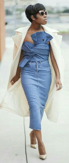 11 Ways to Make a Denim Skirt Actually Look Cool. Enocha, shot in Los Angeles for Locks and Trinkets Denim Skirt Outfits, Denim Outfit, Cute Outfits, Denim Skirts, Street Chic, Street Style, Bow Crop Tops, Denim Fashion, Womens Fashion