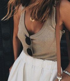 ribbed tank top. tan + white. crescent moon necklace.