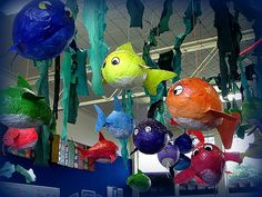 'Fish' is the Year 6 topic for this term. All Year 6 classes made fish by blowing up a balloon, covering in paper mache, adding fins and eyes, then painting. This is the display in Room 6 which is a classroom I am attached to.