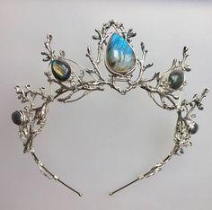 The LUNA Labradorite Crown  Silver Branch Twig Headdress