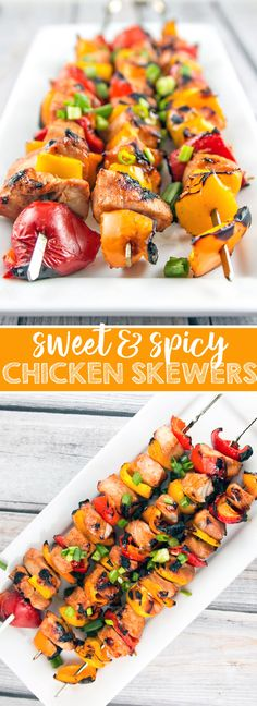 Sweet and Spicy Chicken Skewers: chicken and peppers marinated with honey, lime, and sriracha and grilled to perfection. A quick, fast, and delicious summer dinner. {Bunsen Burner Bakery}