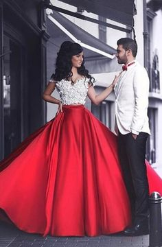 Modern Two Piece Off Shoulder Floor-Length Red Prom Dress with Patchwork