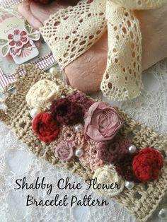 Shabby Chic flower bracelet #crochet pattern for sale from Little Treasures