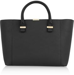 $1,575, Black Leather Tote Bag: Victoria Beckham Quincy Textured Leather Tote. Sold by NET-A-PORTER.COM. Click for more info: https://lookastic.com/women/shop_items/138220/redirect