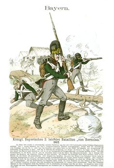 """Knötel-Tafel 2/33, Bavarian 3rd Light Batallion """"von Bernclau"""""""