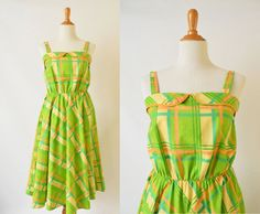 Vintage 1970's Summer Cotton Dress | Plaid Summer Dress by GracedVestige on Etsy