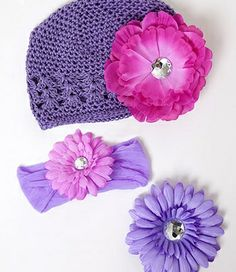 Adorable shades of purple! Hat, headbands, and flowers