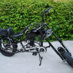 Photos of custom motorized bicycles.See OCC Schwinn Stingray choppers we've motorized.Also rat rods & cruisers, e-bikes or ones with gas and electric motors. Best Electric Bikes, Gas And Electric, Electric Motor, Bike Chopper, Gas Powered Bicycle, Banana Seat Bike, Bicycles For Sale, Motorised Bike, Motorized Bicycle