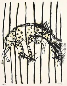 'Hyena: no. by Australian artist Brett Whiteley 2 color screenprint, edition of x 60 cm. via Art Gallery NSW Avant Garde Artists, Australian Artists, Line Drawing, Drawing Room, White Art, Art Market, Artist Painting, Paper Art, Moose Art